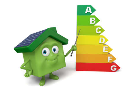 energy consumption: The house and the energy consumption grade mark Stock Photo