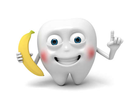 chew: The tooth holds a banana Stock Photo