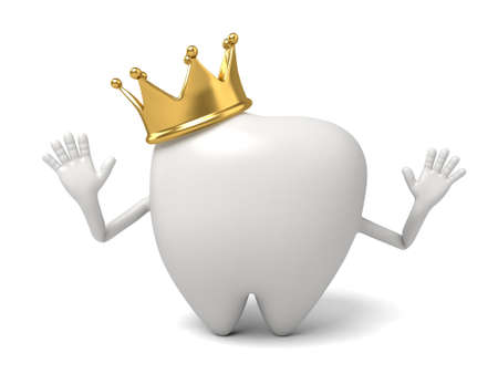 wears: The tooth wears a crown on its head Stock Photo