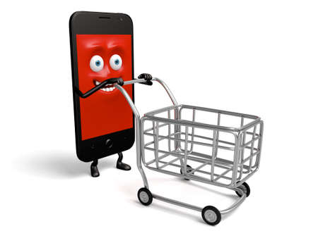 pushed: The smartphone pushed the cart Stock Photo