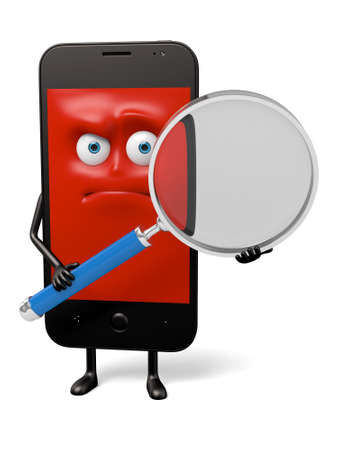 looking for: The smartphone was looking for something with a magnifying glass Stock Photo