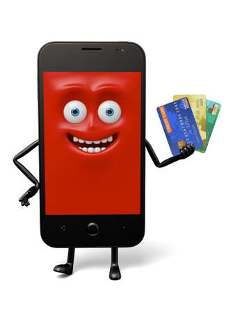 smart card: The smartphone took some credit cards Stock Photo