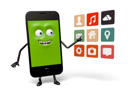 smartphone apps: The smartphone and a lot of apps