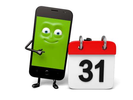 has: The smartphone has a calendar Stock Photo