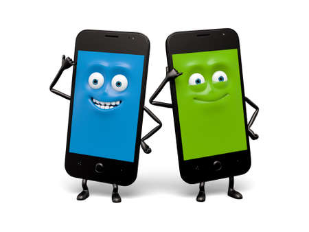 cellphones: The two cellphones are calling to each other Stock Photo