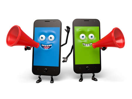 cellphones: The two cellphones are holding the speaker Stock Photo
