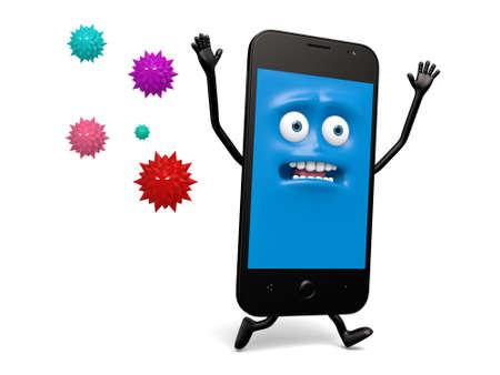 De smartphone werd aangevallen door een groep van virussen