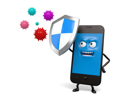 loaded: The smartphone is loaded with security software Stock Photo