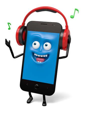 The smartphone was wearing headphones to listen to music Stock fotó