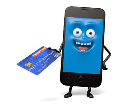 phone call: The smartphone took some credit cards Stock Photo