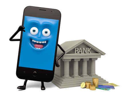 smartphone: A smartphone and a bank