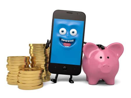 スマート フォンと貯金 写真素材