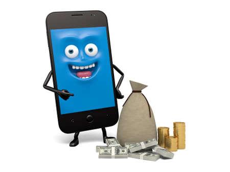 mucho dinero: Un teléfono inteligente y un montón de dinero Foto de archivo
