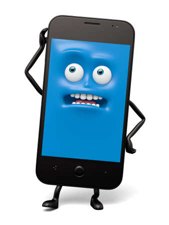 grieved: The smartphone pose a personal gesture Stock Photo