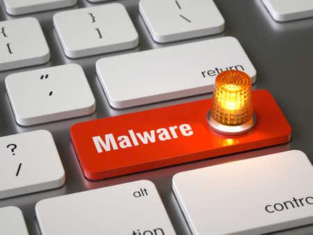 Malware key on the keyboard Archivio Fotografico