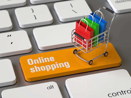 Online shopping key on the keyboard