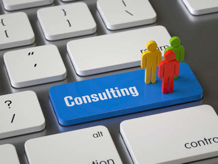 Consulting key on the keyboard Stock fotó