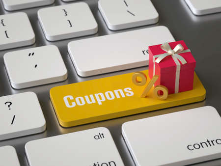 Coupons key on the keyboard Stock fotó