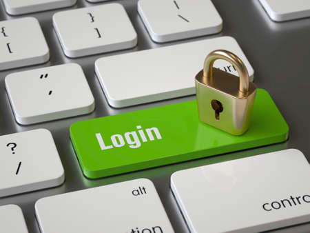 Login key on the keyboard Stock Photo