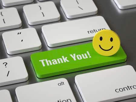Dankjewel-toets op het toetsenbord Stockfoto