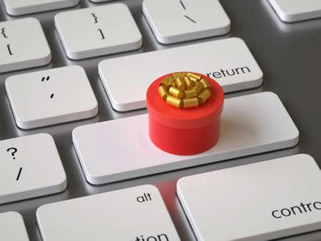 Gift box on the keyboard