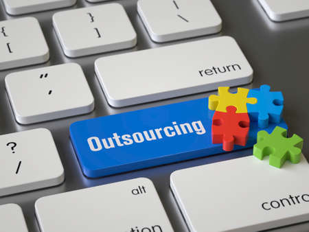 Outsourcing key on the keyboard, 3d rendering,conceptual image Stock fotó