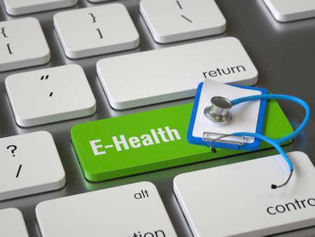 E-Health key on the keyboard Stock fotó