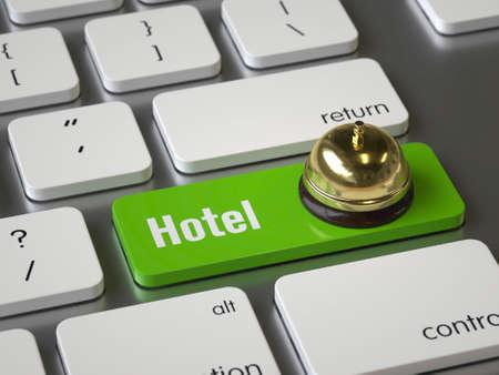 Hotel key on the keyboard Stock fotó