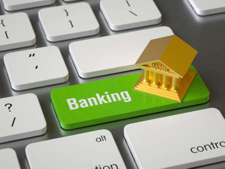 Online banking key on the keyboard