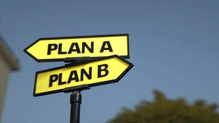 A road sign with plan A and  plan B words. Stock fotó