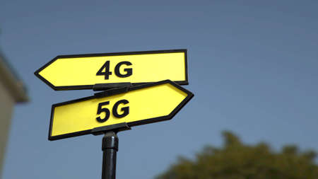 A road sign with 4G  and 5G words