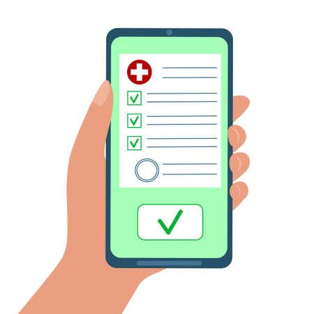 Medical test results or drugs prescription online. Hand holding smartphone with medicine document with check marks. Digital medicine concept. Vector flat illustration.
