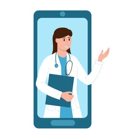 Telemedicine, online medicine, telehealth concept. Online woman doctor give medical consultation in smartphone app. Remote healthcare service. Vector flat illustration.