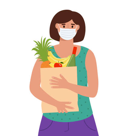Woman in medical protective mask holding grocery bag with food. Shopping during pandemic concept. Vector flat illustration.
