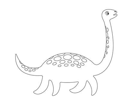 Loch Ness monster coloring page. Plesiosaur Nessie in cartoon style. Vector illustration.