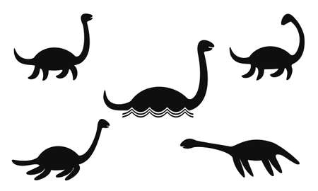 Set of Nessie or Loch Ness monster silhouettes isolated on white backgroung. Vector illustration. Illustration