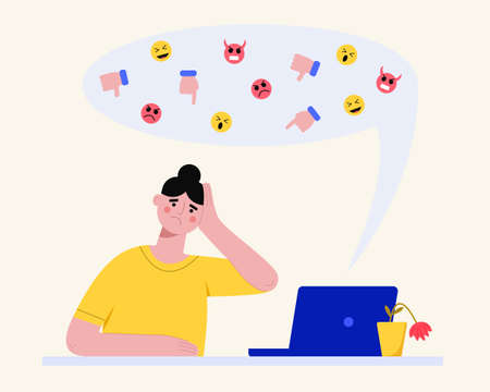 Cyberbullying concept. Upset woman reading abusive online messages at laptop. Vector flat illustration. Illustration