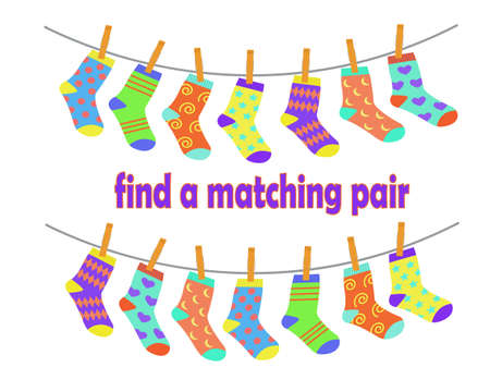 Find a pair of matching socks. Children education logic game. Vector illustration in flat cartoon style.