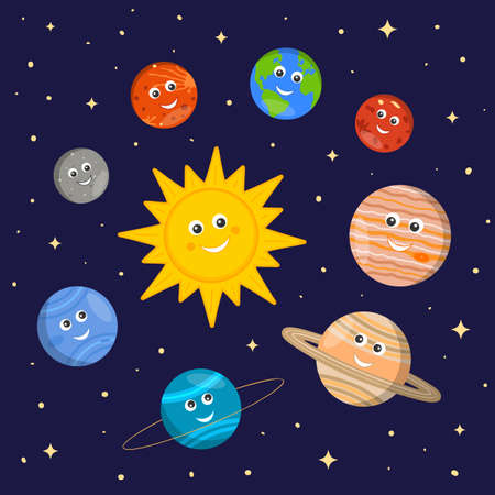 Solar system for kids. Cute sun and planets characters in cartoon style on dark space background. Vector illustration for kindergarten and school science education. 矢量图像