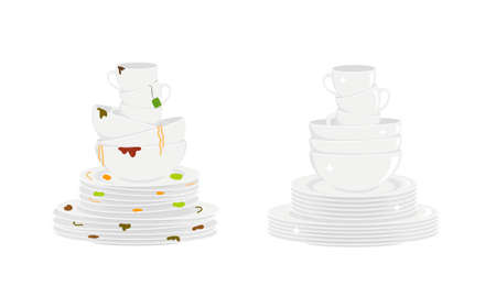 Stacks of dirty and clean dishes isolated on white background. Plates, bowls and cups before and after washing. Vector flat illustration.