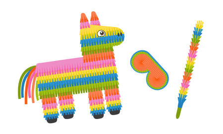 Pinata donkey with eye mask and stick isolated on white background. Colorful pinata toy with sweets and candies for birthday party. Vector illustration in flat style. Ilustração