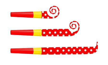 Rolled and unrolled party blowers, horns, noise makers, sound whistles isolated on white background. Side view. New year celebration, kids birthday concept. Vector cartoon illustration.