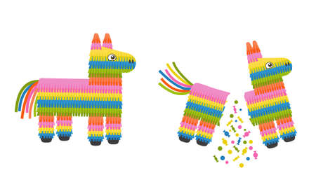 Pinata donkey whole and broken, full and empty isolated on white background. Traditional mexican toy with candies for birthday party. Vector flat illustration. Ilustração