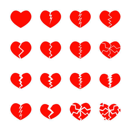 Set of red broken hearts icons isolated on white background. Different symbols of heartbreak, divorce, parting. Vector flat illustration.
