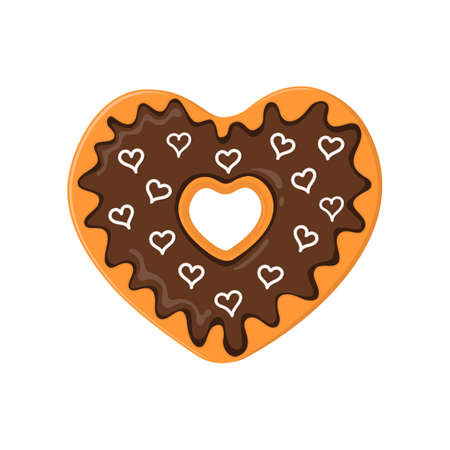Heart shaped donut isolated on white background. Doughnut spread with chocolate and topped with little hearts candies. Sweet dessert for Valentines day. Vector cartoon illustration.