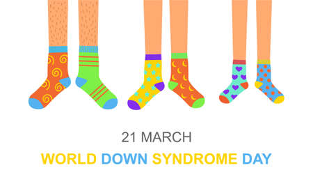 World Down syndrome day poster or invitation card. Man, woman and children feet in different colorful odd socks as a symbol for WDSD. Vector flat illustration.