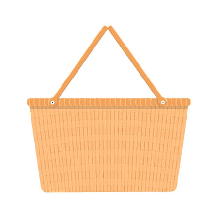 Country wicker picnic basket for Easter brunch, spring or summer outing. Woven willow basket in vintage style isolated on white background. Vector flat cartoon illustration.