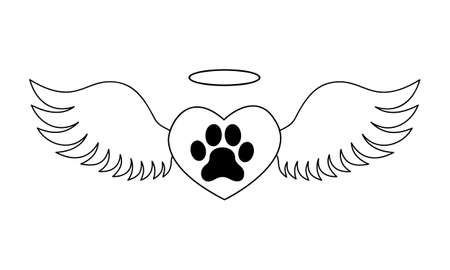 Heart with dogs paw inside with angel wings and halo. Pet death memorial concept. Graphic design for tattoo, tshirt, memory board, tombstone. Vector illustration.