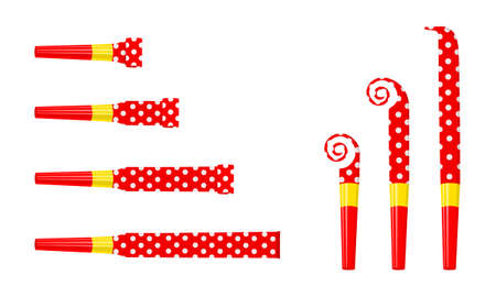 Party noise makers, blowers isolated on white background. Rolled and unrolled red polka dot sound whistles. Side and top view. Celebration concept. Vector cartoon illustration.
