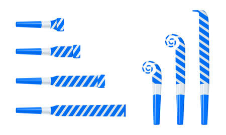 Rolled and unrolled party horns, noisemakers, blowers. Striped blue and silver sound whistles isolated on white background. Side and top view. Vector cartoon illustration.